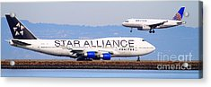 Star Alliance Airlines And United Airlines Jet Airplanes At San Francisco Airport Sfo . Long Cut Acrylic Print by Wingsdomain Art and Photography