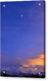 Star Sirius Over National Park Sierra Nevada At Sunset. Constelation Canis Mayor Acrylic Print by Guido Montanes Castillo