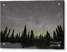 Star Trails, Milky Way And Green Aurora Acrylic Print by Yuichi Takasaka