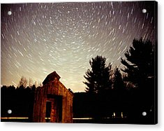 Acrylic Print featuring the photograph Star Trails Over Sugar Shack by Rick Frost