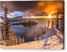 Starburst Sunrise At Crater Lake Acrylic Print