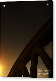 Acrylic Print featuring the photograph Starry Night On Sunset Bridge by Andy Prendy