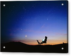 Starry Sky And Stargazer Acrylic Print by David Nunuk