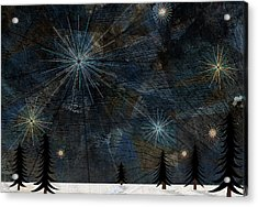 Stars Glistening In The Sky Above Pine Trees And Snow On The Ground Acrylic Print by Jutta Kuss