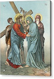 Station Iv Jesus Carrying The Cross Meets His Most Afflicted Mother Acrylic Print by English School