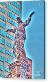 Statue At Fountain Square Acrylic Print