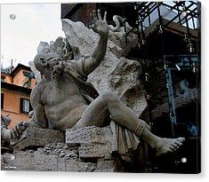 Statue At Piazza Acrylic Print by Suhas Tavkar