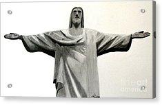 Statue Of Jesus In Rio Acrylic Print by Claudiu Radulescu
