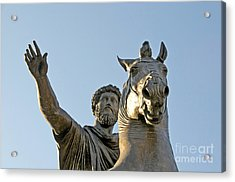 Statue Of Marcus Aurelius On Capitoline Hill Rome Lazio Italy Acrylic Print by Bernard Jaubert
