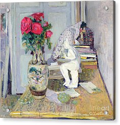 Statuette By Maillol And Red Roses Acrylic Print by Edouard Vuillard