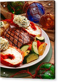 Steak And Lobster Acrylic Print by Vance Fox