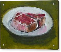 Acrylic Print featuring the painting Steak by Jessmyne Stephenson
