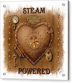 Steam Powered Heart Acrylic Print by Artellus Artworks
