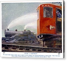Steam Trains Versus Electric Acrylic Print by Mary Evans and Photo Researchers
