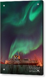 Steamboat Under Northern Lights Acrylic Print by Priska Wettstein
