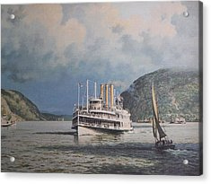 Steamboats On Newburgh Bay William G Muller Acrylic Print by Jake Hartz