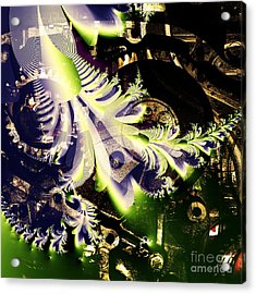 Steampunk Abstract Fractal . Square . S2 Acrylic Print by Wingsdomain Art and Photography