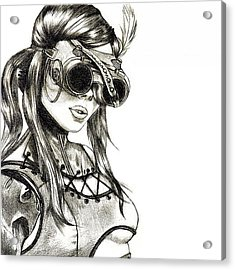 Steampunk Girl 1 Acrylic Print by Andres R