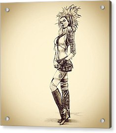 Steampunk Girl 2 Acrylic Print by Andres R