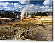 Steamy In Yellowstone Acrylic Print by Adam Jewell