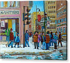 Ste.catherine And Peel Streets Acrylic Print by Carole Spandau