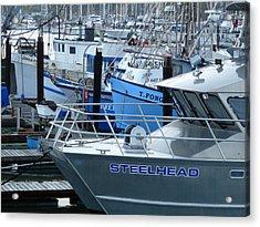 Steelhead And Fishing Boats Acrylic Print by Jeff Lowe