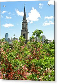 Acrylic Print featuring the photograph Steeple Peeks Through Shower Trees by Craig Wood