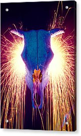 Steer Skull With Sparks  Acrylic Print by Garry Gay