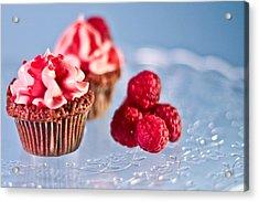 Sticky Raspberry Chocolate Cupcake Acrylic Print by Birgitta Forsberg