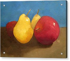 Still Life Apples And Pears Acrylic Print by Patricia Cleasby
