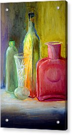 Still Life Bottles And Vase Acrylic Print by James Gallagher