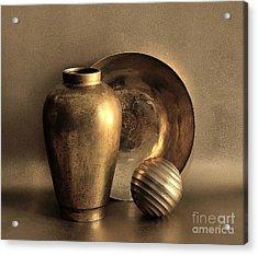Still Life In Gold Acrylic Print by Mark Fuller