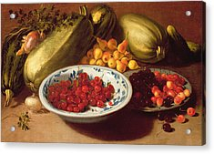 Still Life Of Cherries - Marrows And Pears Acrylic Print by Italian School