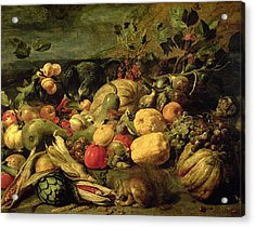 Still Life Of Fruits And Vegetables Acrylic Print by Frans Snyders