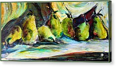 Still Life Of Pears Acrylic Print by Mindy Newman