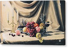 Still Life On A Gold Acrylic Print by Oleg Bylgakov