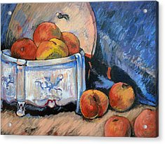 Acrylic Print featuring the painting Still Life Peaches by Tom Roderick
