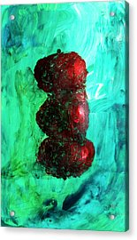 Still Life Red Apples Stacked On Green Table And Wall Fruit Is About To Topple Smush Impressionistic Acrylic Print by M Zimmerman MendyZ