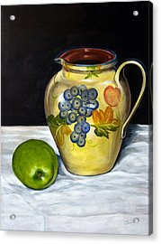 Still Life With Apple And Pitcher Acrylic Print by John OBrien