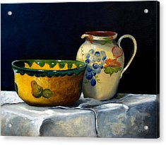 Still Life With Bowl And Pitcher Acrylic Print by John OBrien