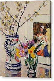Still Life With Flowers In A Vase   Acrylic Print by Rowley Leggett