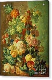 Still Life With Fruit And Flowers Acrylic Print by Jan van Os