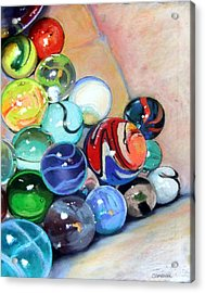 Still Life With Marbles 07 Acrylic Print by Sue Gardner