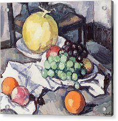 Still Life With Melons And Grapes Acrylic Print by Samuel John Peploe