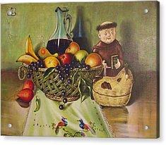 Still Life With Moms Needle Work Acrylic Print by Joe Santana