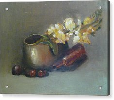 Acrylic Print featuring the painting Still Life With Om Bowl Grapes And White Flowers by Jessmyne Stephenson