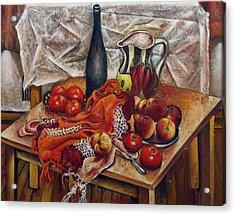 Still Life With Peaches And Tomatoes Acrylic Print by Vladimir Kezerashvili