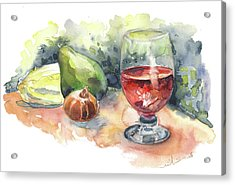 Still Life With Red Wine Glass Acrylic Print by Miki De Goodaboom