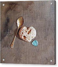 Still Life With Teaspoon And Heart Stone Acrylic Print by Elena Kolotusha