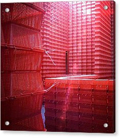 Stimulus Package..#red #crates Acrylic Print by A Rey